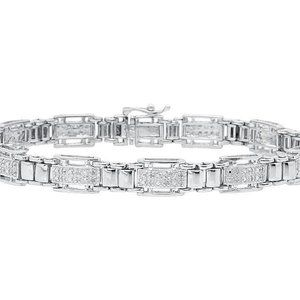 Other - Diamond men bracelet solid white gold fine jewelry